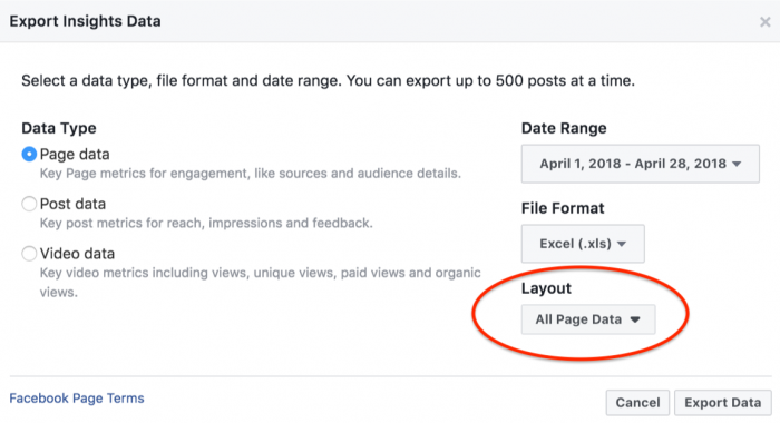 Facebook Insights Data Download Export for social media reporting