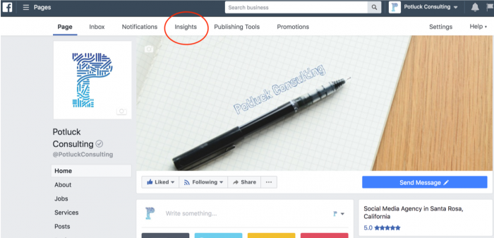Facebook Insights Menu for social media reporting