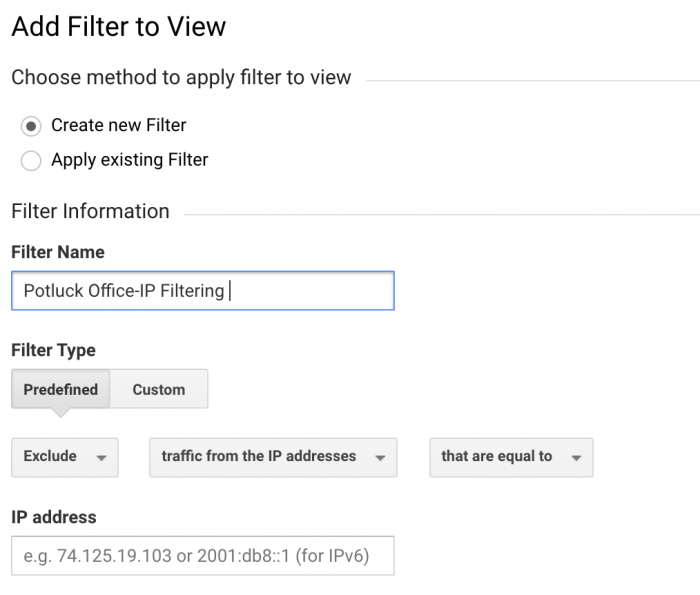 how to create a google analytics ip address filter